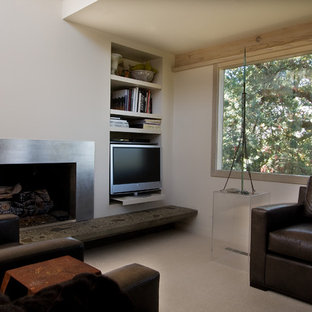 Inspiration for a contemporary family room remodel in San Francisco with a corner fireplace