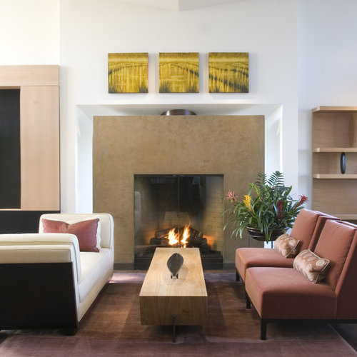 Contemporary Family Room Idea In San Francisco With White Walls And A  Standard Fireplace