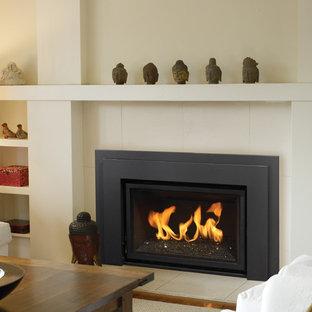 Foto de sala de estar actual, de tamaño medio, sin televisor, con paredes blancas, chimenea tradicional y marco de chimenea de yeso
