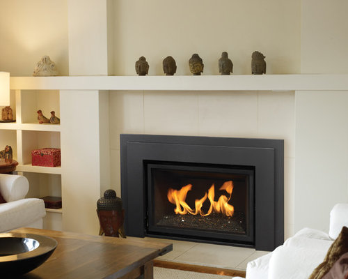 Mid Sized Trendy Family Room Photo In Vancouver With White Walls, A  Standard Fireplace