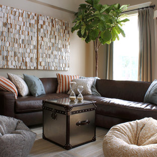 Brown Leather Sofa Gray Walls Houzz