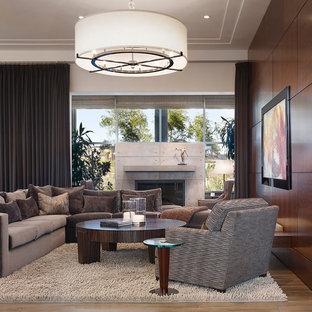 Foto de sala de estar abierta, contemporánea, grande, sin televisor, con marco de chimenea de hormigón, suelo de madera clara, paredes multicolor y chimenea tradicional