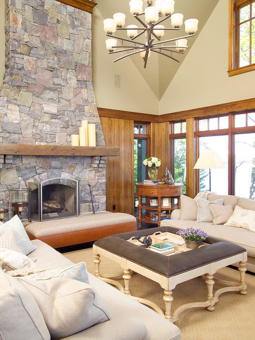 Inspiration For A Contemporary Family Room Remodel In Toronto With Beige  Walls, A Standard Fireplace