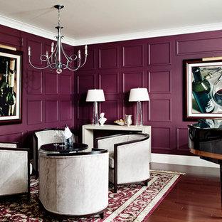 На фото: гостиная комната в современном стиле с музыкальной комнатой и фиолетовыми стенами без ТВ с