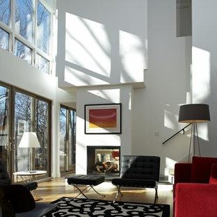 Modernes Wohnzimmer mit hellem Holzboden in Boston