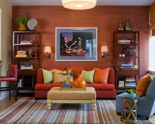 Wonderful Trendy Family Room Photo In New York With Orange Walls Part 4