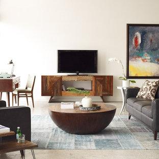 Ejemplo de sala de estar actual con paredes blancas