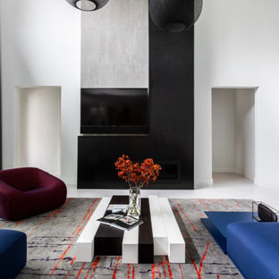 Example of a minimalist family room design in Houston