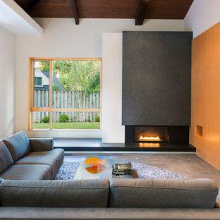 ワシントンD.C.の巨大なコンテンポラリースタイルのおしゃれなオープンリビング (白い壁、スレートの床、標準型暖炉、石材の暖炉まわり、壁掛け型テレビ) の写真