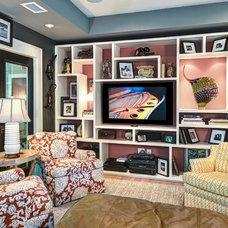 Contemporary Family Room by K & K Custom Cabinets LLC