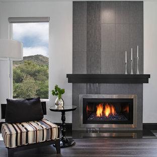 オレンジカウンティのコンテンポラリースタイルのおしゃれなファミリールーム (グレーの壁、無垢フローリング、標準型暖炉、タイルの暖炉まわり) の写真