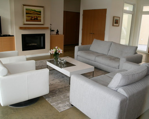 Inspiration For A Contemporary Concrete Floor Family Room Remodel In  Vancouver With Beige Walls, A Part 41