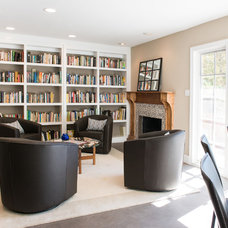 Transitional Family Room by Lulu Designs