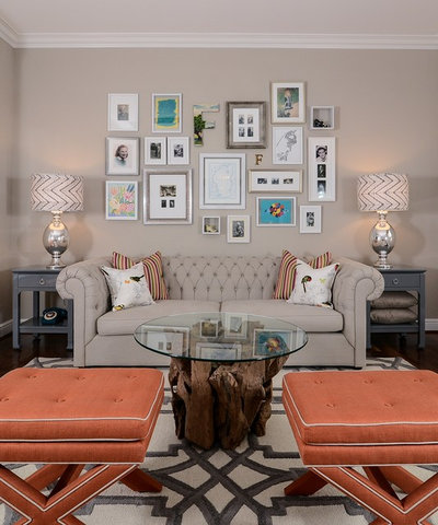 Transitional Family Room by Kerrie Kelly Design Lab