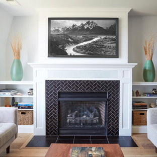 Inspiration for a beach style family room remodel in Chicago