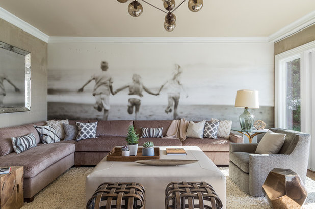Transitional Family Room by Ann Lowengart Interiors