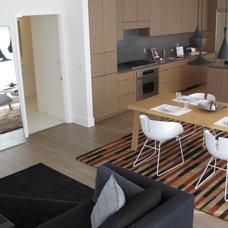 Modern Family Room Coordinating Rugs in Portland condo