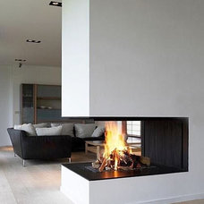 Modern Family Room Corner fireplace
