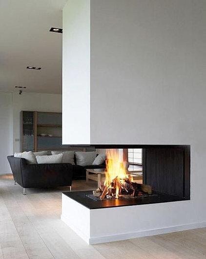 Modern Family Room Corner fireplace