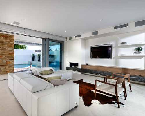 Inspiration For A Large Contemporary Open Concept Family Room Remodel In  Perth With A Concealed Tv Part 80