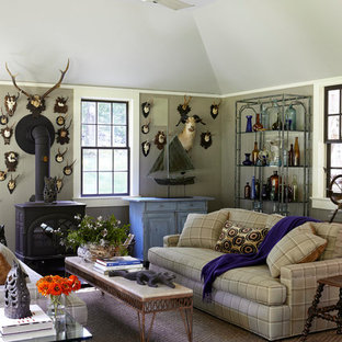 Eclectic carpeted family room photo in New York with gray walls and a wood stove