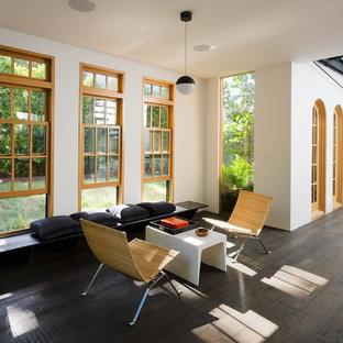Diseño de sala de estar con barra de bar abierta, contemporánea, pequeña, sin chimenea y televisor, con paredes blancas, suelo de madera oscura y suelo negro