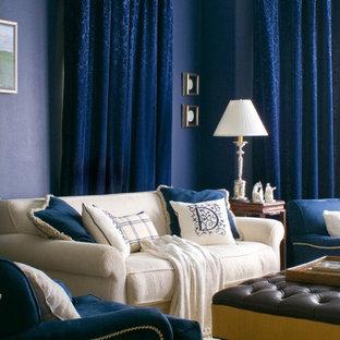 Modelo de sala de estar actual con paredes azules