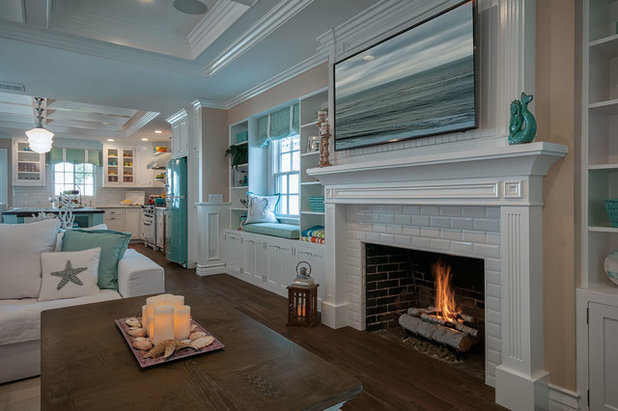 Beach Style Family Room by QualCraft Construction Inc