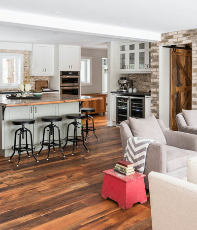 Transitional Family Room by Soda Pop Design Inc.