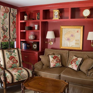 Example of a mid-sized classic enclosed carpeted and beige floor family room design in New York with red walls, no fireplace and no tv
