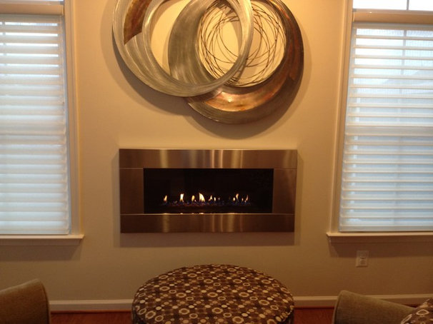 Modern Family Room cozy fireplace