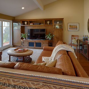Example of a mid-sized arts and crafts open concept dark wood floor family room design in San Francisco with beige walls, no fireplace and a media wall
