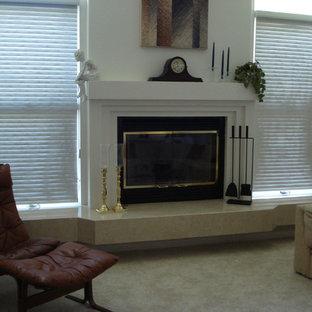 Crema Marfil Marble Fireplace