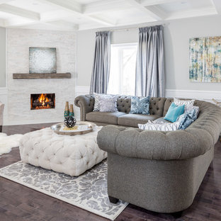 Family room - large transitional open concept dark wood floor family room idea in Toronto with gray walls and a corner fireplace