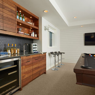 Inspiration for a contemporary family room in Minneapolis with carpet and a home bar.