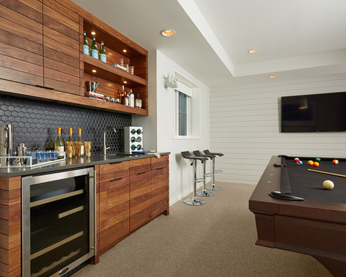 Home Bar Design Ideas, Remodels & Photos with Louvered Cabinets