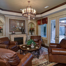 Mediterranean Family Room by Hall Design Build