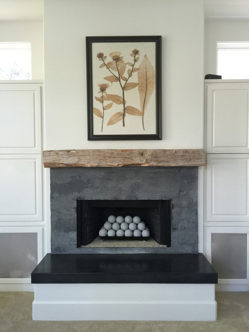Concrete Board Formed Tile Fireplace Surround And Concrete Hearth