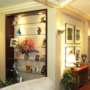 Custom Bookcase, Floating Glass Display Shelves,