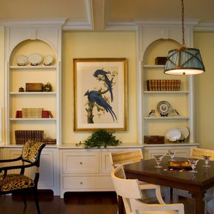 Custom Built-in Arched Bookcases with Lateral Drawers
