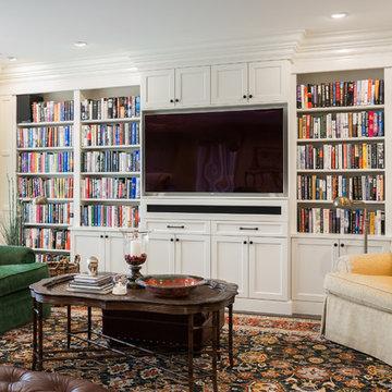 Custom built in bookcases for family living.