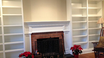 Custom built-in Bookcases with Crown Molding & Custom Fireplace Surround