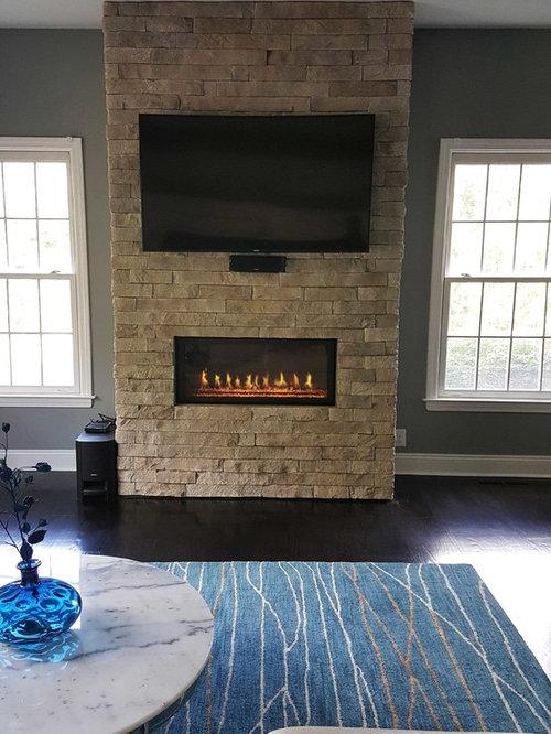Custom Contemporary Linear Gas Fireplace