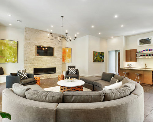 Example Of A Trendy Open Concept Family Room Design In New Orleans With A  Bar, Part 64