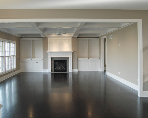 Large Elegant Open Concept Dark Wood Floor Family Room Photo In Chicago With A Standard Fireplace