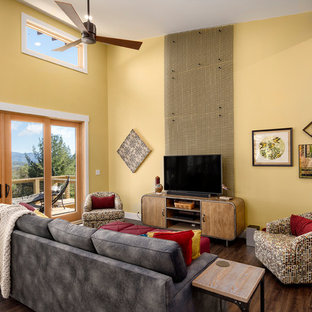 Inspiration For A Rustic Open Concept Dark Wood Floor Family Room Remodel In Other With Yellow