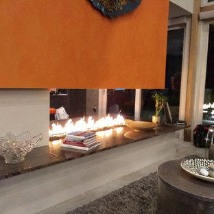 Custom Open Gas Fireplace - Lake Ontario Residence