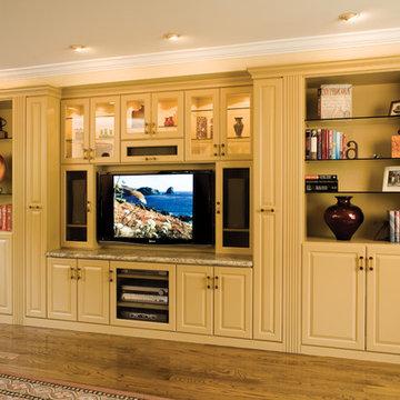 Custom Painted Media & Wall Unit by Valet Custom Cabinets & Closets