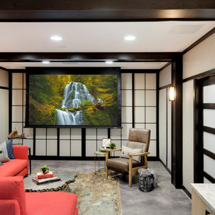Example of a mid-sized asian enclosed carpeted family room design in Minneapolis with a concealed tv