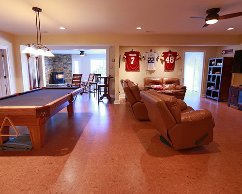 Game Room Flooring : Red living space design ideas renovations photos with